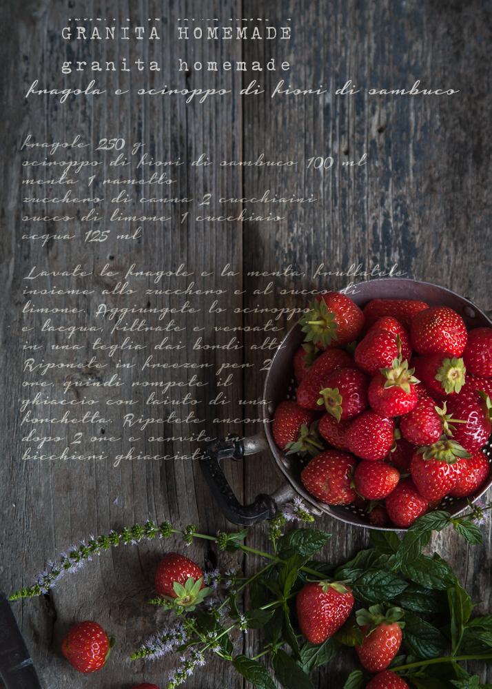 granita homemade strawberries and elderflower