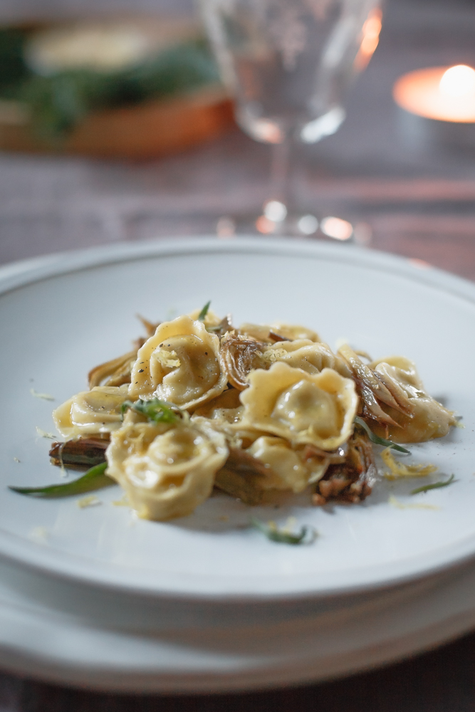 Pasta fresca Ravioli con carciofi e mozzarella di bufala affumicata-7