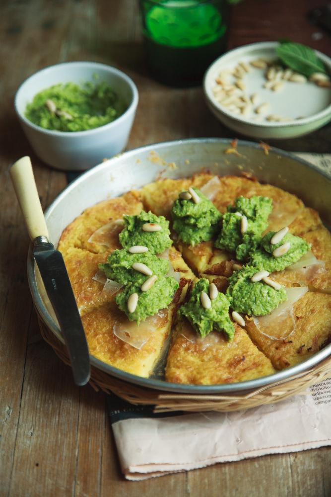 Torta di ceci con crema di asparagi e pecorino-2
