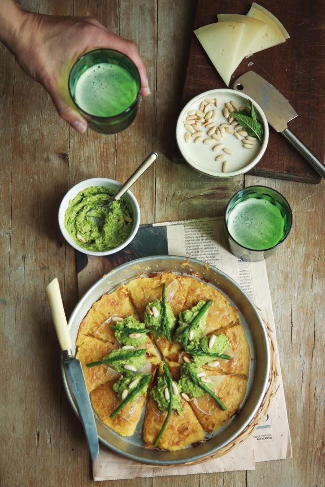 Torta di ceci con crema di asparagi e pecorino-3